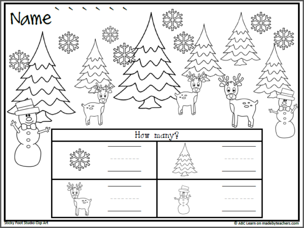 Winter Math Counting Worksheet